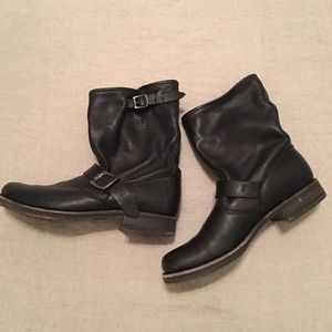 Black leather Frye moto boots